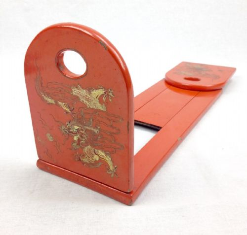 Antique Extending Book Shelf / Display Rack / Japanese Lacquered Dragon Design